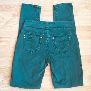 Silver Jeans Teal / Green Suki Skinny Jeans 25x31